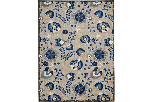Nourison Aloha 8'x11' Blue Patio Area Rug, Natural/Blue, large
