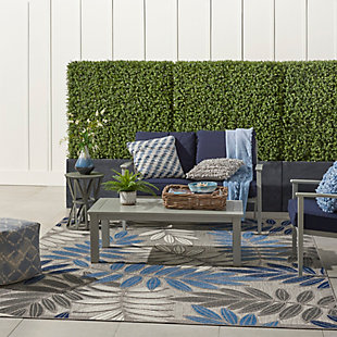 Nourison Aloha 8'x11' Blue Patio Area Rug, Gray/Blue, large