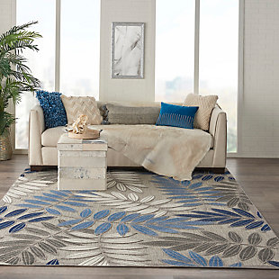 Nourison Aloha 8'x11' Blue Patio Area Rug, Gray/Blue, rollover