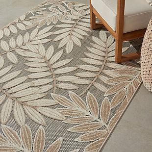 Nourison Aloha 5'x8' Cream Patio Area Rug, Natural, large