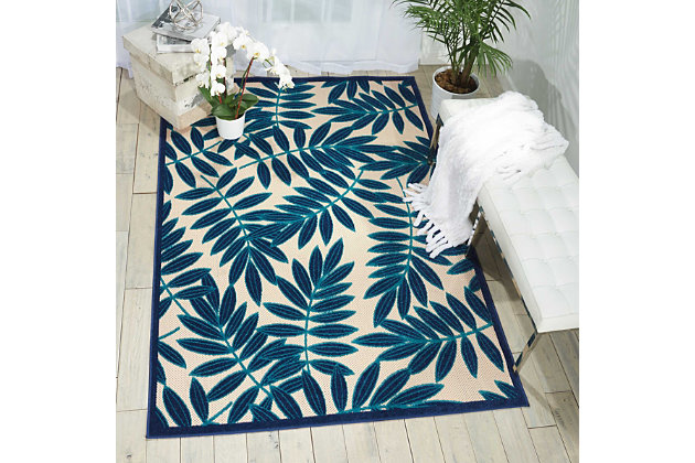 Nourison Aloha Navy Blue and White 8'x11' Oversized Indoor-outdoor Rug, Navy, large