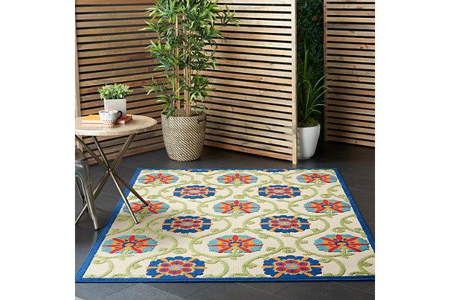 Nourison Aloha 5'x8' Blue Multicolor Easy-care Indoor-outdoor Rug, Blue/Multi, large