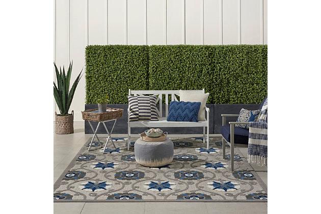 Nourison Aloha 8'x11' Gray Patio Area Rug, Gray/Blue, large