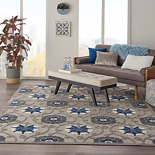 Nourison Aloha 8'x11' Gray Patio Area Rug, Gray/Blue, rollover