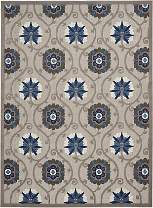 Nourison Aloha 8'x11' Gray Patio Area Rug, Gray/Blue, large