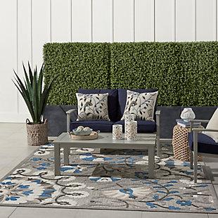 Nourison Aloha 8'x11' Gray Patio Area Rug, Gray/Multi, large