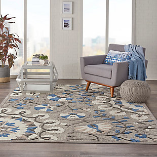 Nourison Aloha 8'x11' Gray Patio Area Rug, Gray/Multi, rollover
