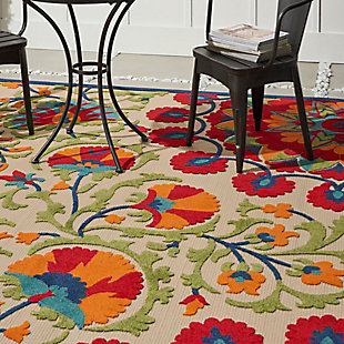 Nourison Aloha 8'x11' Red Multicolor Easy-care Indoor-outdoor Rug, Red/Multi, large
