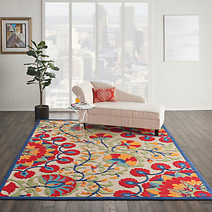 Nourison Aloha 8'x11' Red Multicolor Easy-care Indoor-outdoor Rug, Red/Multi, rollover