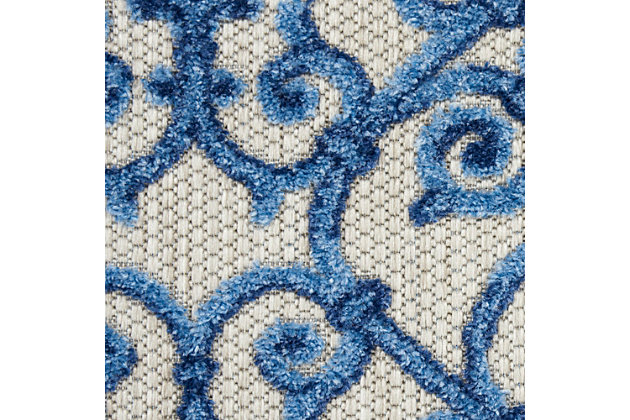 Nourison Aloha 4'x6' Blue Patio Area Rug, Gray/Blue, large