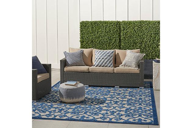 Nourison Aloha 8'x11' Blue Patio Area Rug, Gray/Blue, large