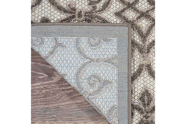Nourison Aloha 10' Runner Gray Patio Area Rug, Gray/Charcoal, large