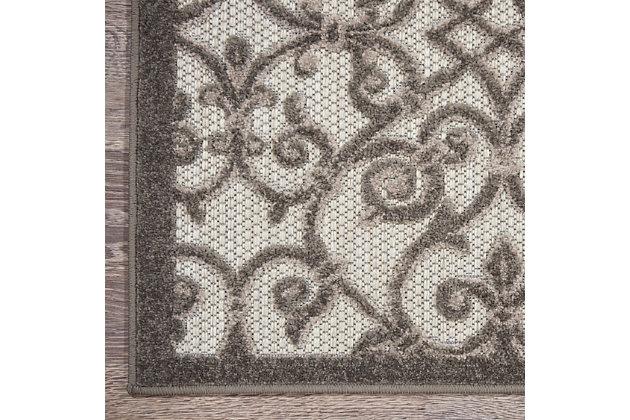 Nourison Aloha 8'x11' Gray Patio Area Rug, Gray/Charcoal, large