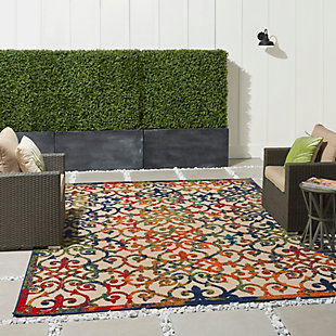 Nourison Aloha 8'x11' Multicolor Easy-care Indoor-outdoor Rug, Multi, large