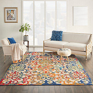 Nourison Aloha 8'x11' Multicolor Easy-care Indoor-outdoor Rug, Multi, rollover