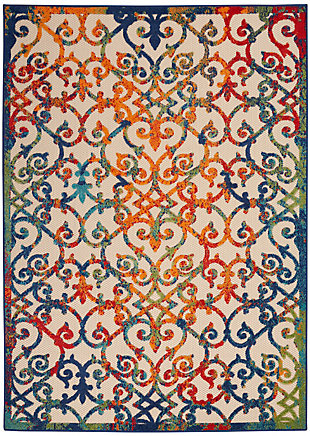 Nourison Aloha 8'x11' Multicolor Easy-care Indoor-outdoor Rug, Multi, large