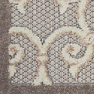 Nourison Aloha 5'x8' Gray Patio Area Rug, Natural, large