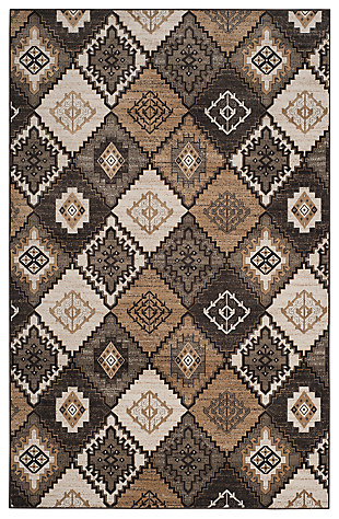 "Home Accents Geometric 6'7"" x 9'2"" Rug, Black/Ivory, large"