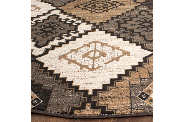 """Home Accents Geometric  6'7"""" x 6'7"""" Round  Rug, Black/Ivory, large"""