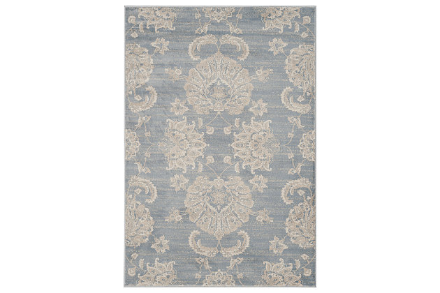"Home Accents Paisley 4'  x 5'7"" Rug, Light Blue, large"