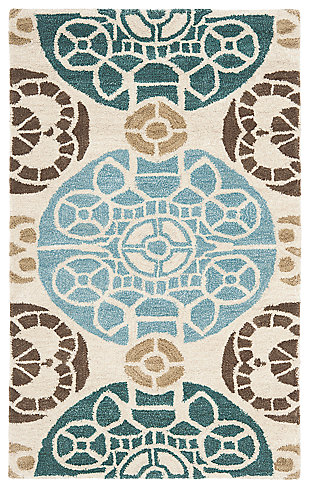"Home Accents WYNDHAM 2'6"" x 4' Rug, Blue/Beige, large"