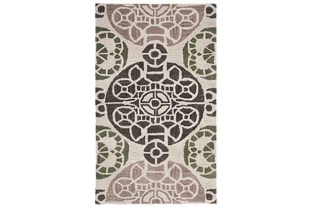 """Home Accents WYNDHAM  2'6"""" x 4' Rug, Ivory/Brown, large"""