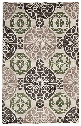 Home Accents WYNDHAM 4' x 6' Rug, Ivory/Brown, large