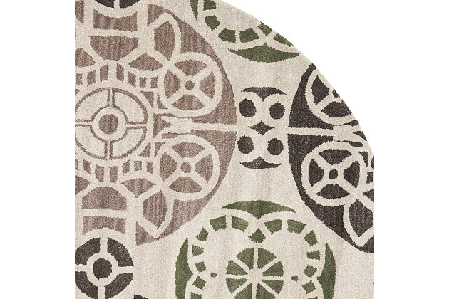 Home Accents WYNDHAM 7' x 7' Round Rug, Ivory/Brown, large
