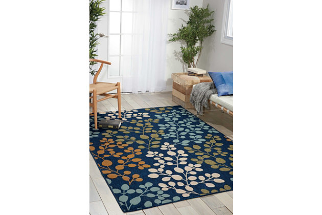 "Home Accents Caribbean  5'3"" x 7'5"" Indoor/Outdoor Rug, Navy, large"