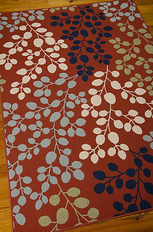 "Home Accents Caribbean  5'3"" x 7'5"" Indoor/Outdoor Rug, Rust, large"