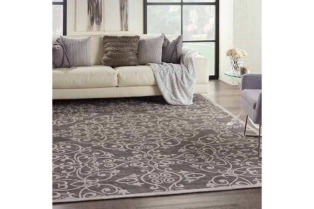 Home Accents Damask 8' x 10' Rug, Gray, large