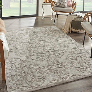 Home Accents Damask 5' x 7' Rug, Gray/Ivory, rollover