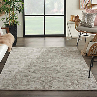 Home Accents Damask 5' x 7' Rug, Gray/Ivory, large