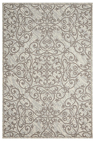 Home Accents Damask 8' x 10' Rug, Gray/Ivory, large