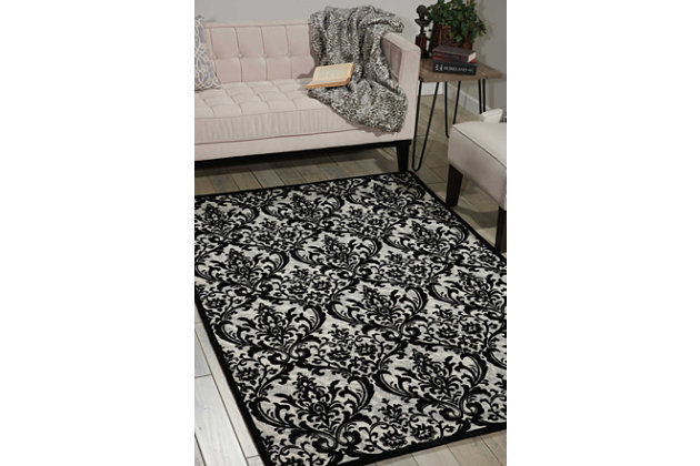 Home Accents Damask  5' x 7' Rug, Black/White, large