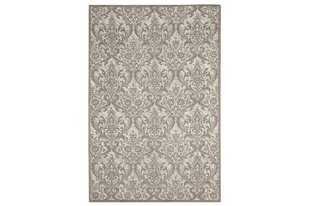 Home Accents Damask  8' x 10' Rug, Ivory, large
