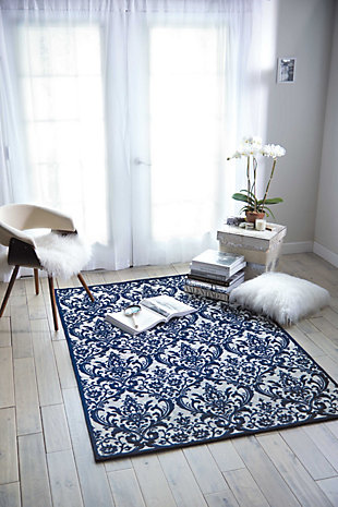 Home Accents Damask  5' x 7' Rug, Ivory/Navy, large