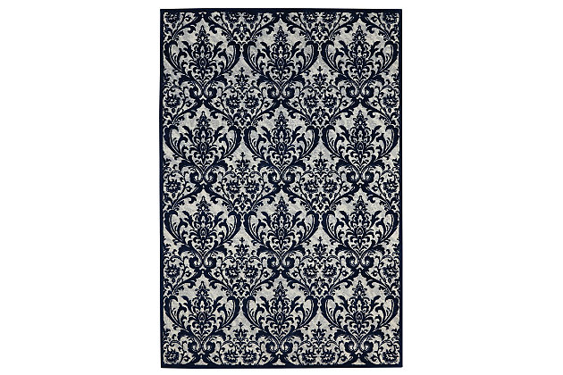 Home Accents Damask  8' x 10' Rug, Ivory/Navy, large