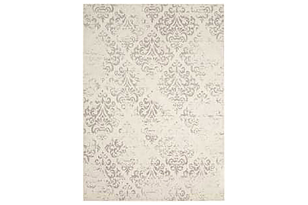 Home Accents Damask  5' x 7' Rug, Ivory, large