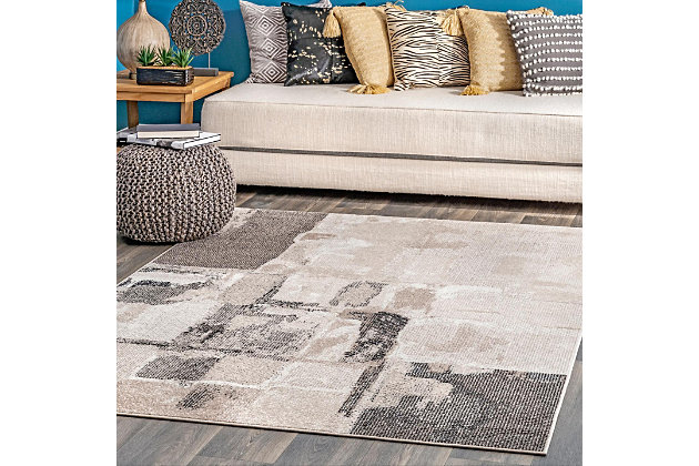 "NuLoom Maci Abstract Cubism 5' 3"" x 7' 6"" Area Rug, Beige, large"