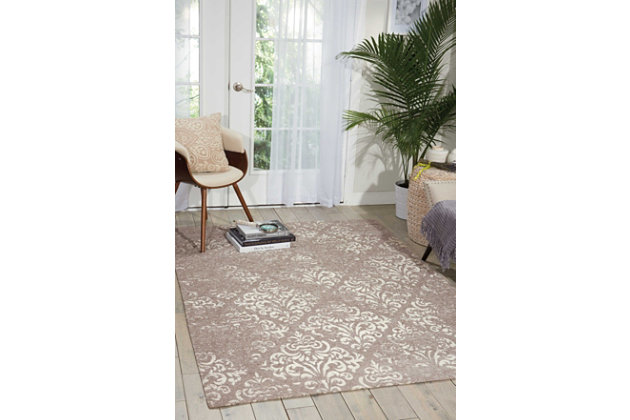 Home Accents Damask  5' x 7' Rug, Gray, large