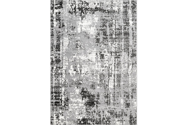 """NuLoom Margot Strained Abstract 5' 3"""" x 7' 6"""" Area Rug, Gray, large"""