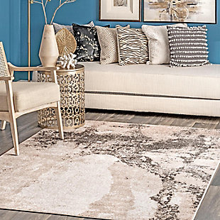"NuLoom Addilyn Abstract Mural 6' 7"" x 9' Area Rug, Gray, rollover"
