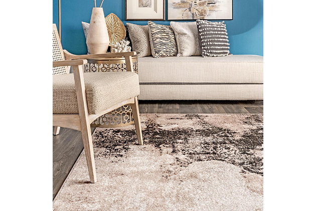 """NuLoom Addilyn Abstract Mural 6' 7"""" x 9' Area Rug, Gray, large"""