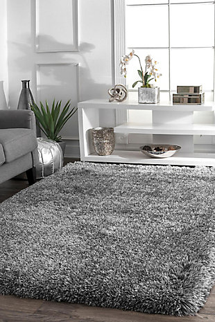 NuLoom Hand Tufted Kristan Shag 5' x 8' Area Rug, Gray, rollover