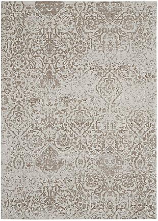 Nourison Damask 5' X 7' Rug, Ivory, large