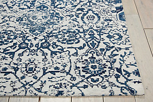 Home Accents Damask 5' x 7' Rug, Ivory/Navy, rollover