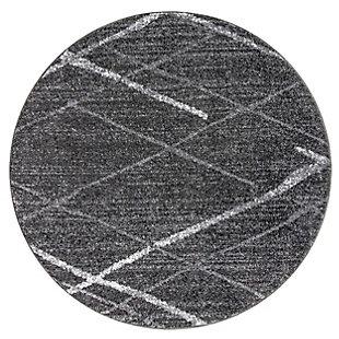 NuLoom Thigpen Broken Lattice 4' Round Rug, Dark Gray, large