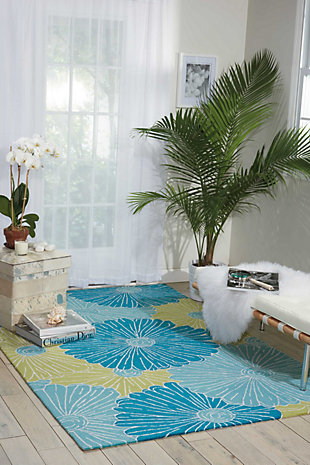 """Home Accents Fantasy 5' X 7'6"""" Rug, Seafoam, large"""