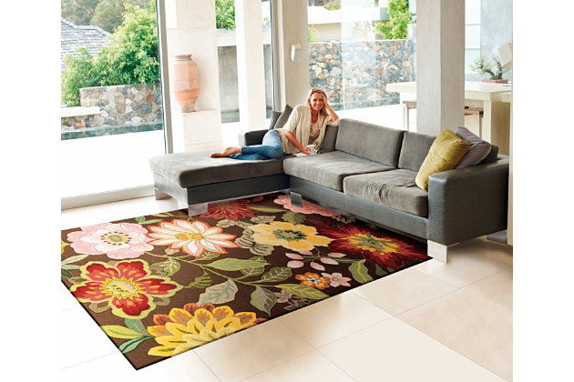 "Home Accents Fantasy 5' x 7'6"" Rug, Chocolate, large"
